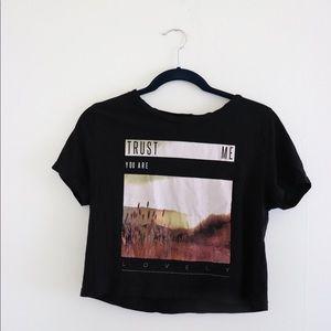 Black Graphic Crop Top